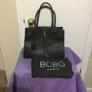 Like New BCBG Paris Black leather shoulder Tote